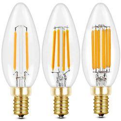 CE 4 واط 6 واط، 6 واط، لمبة شمعة قابلة للتخفيت 3000 كلفن، دافئة مصباح ضوء شمعة LED باللون الأبيض E14 B15 B22 90+ CRI