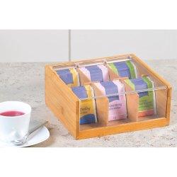 Caixa de chá de bambu Organizador de acrílico saquinho de chá decorativas contêm 6 Compartimento de Armazenamento
