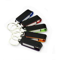 Flits de van uitstekende kwaliteit Pendrive van de Aandrijving van de Pen van het Leer USB met Embleem Hotstamping of het Embleem van de Druk van de Zijde