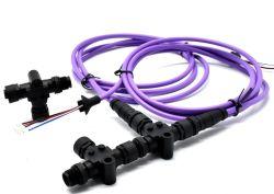 Nmea2000 Power Tap M12 на женщин и мужчин на кодирование 3контакт T переходной кабель с пластмассовой стопорный винт разъем