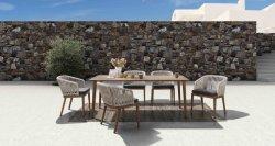 Handfertigkeit-wasserdichtes Hauptspeisetisch-gesetztes Hotel-spinnende Patio-Garten-im Freien speisende Möbel