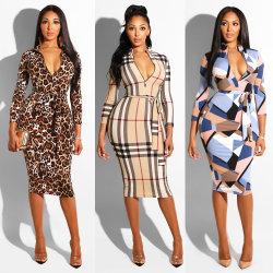 최신 여성용 섹시 패션 레오파드 프린트 긴팔 스킨니 맥시 레이디스 스키니 드레스를 입으세요