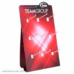 Impressão personalizada publicidade bancada de papelão ondulado de design da tela pop promocionais Peg Hook Expositor