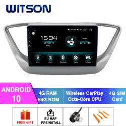 Android Octa-Core Witson 10 Car Multimedia player para a Hyundai 2017-2018 Verna /Accent /Solaris 4 GB de memória RAM