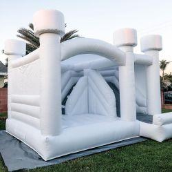 웨딩 팽창식 화이트 바운스 하우스에 대한 핫 셀링 바운스 하우스 결혼식용 Bouncy Castle Air Bouncer Combo for Kids 어른 파티