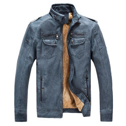 Mens al aire libre en invierno la moda casual forro de pieles de chaqueta de cuero de PU