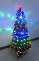 210cm de Fibra Optica de PVC Verde Árbol de navidad artificial con LED de hoja de flor de nieve de Pinecone baya roja
