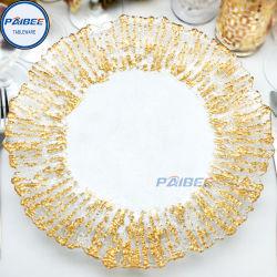 O ouro limpar gelo casamento afiadas e placas do carregador de eventos de vidro em chapa de vidro para Decoração de Natal Talheres