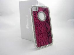 iPhone 4/4S のアルミニウム + レザー + ディモンド電話カバー