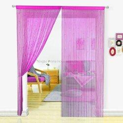 Cortina de string com cordões de pérola de franja densas cortinas nas franjas da porta com rebordo