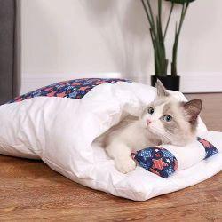 De Slaapzak van de Kat van het Bed van de Kat van de hond met Huis van de Kat van de Winter van de Mat van de Banken van het Huisdier van het Hoofdkussen het Warme