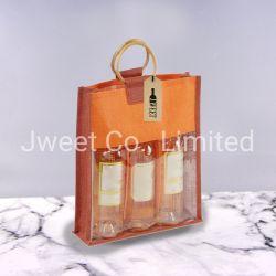 Настраиваемые джута вино женская сумка из ПВХ 3 бутылочек подушки безопасности