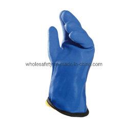 Anti-acide et alcaline preuve d'huile chimique jersey de coton des gants en nitrile bleu entièrement du travail