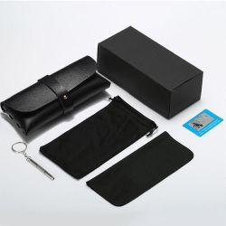 حقيبة جلدية سوداء جمليّة مخصصة سوداء نظارات شمسية مظللة علبة تحتوي على شعار