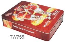 Benutzerdefinierte Druck Logo Farbe Kosmetische Geschenk Spielzeug Metall Rechteck Quadrat Weiße Schwarze Aufbewahrungsdose
