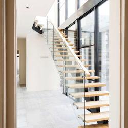 Uso doméstico, forma de U de acero Escaleras Escalera recta de diseño residencial