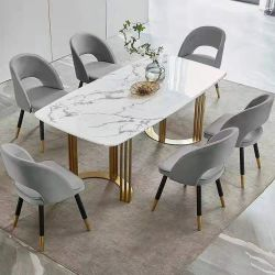 Gesinterde stenen Carrara Wit kunstmarmer Top modern Furniture Use Dining Coffee Table Golden RVS Frame rechthoek Ronde op maat