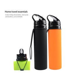Itens quentes de Silicone bebendo água recolhível dobrável e garrafa de água de desporto