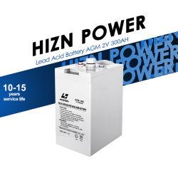 محول عامل بالطاقة بقوة 2 فولت 300 أمبير دورة عميقة من الرصاص المحول العامل بالطاقة الشمسية تخزين البطارية الحمضية AGM 2V 300ah بسعة عالية