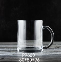 12oz haut de gros de couleur blanche en verre de bière tasse tasse en verre à boire avec poignée tasse à café (P9680)