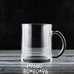 12oz는 도매한다 손잡이 커피잔 (P9680)를 가진 높은 백색 색깔 맥주 유리 찻잔 음료수잔 컵을