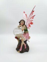 Europeia da estátua de resina Flower Fairy Girl Crystal Asas Anjo com a luz solar