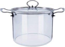 Utensili per uso domestico in vetro trasparente da 5 l, misura grande, borosilicato alto, utensili da cucina con Recipiente di cottura per noodle con zuppa di vetro Pyrex a doppio orecchio in acciaio inox