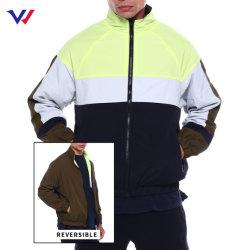 カスタムロゴの人の冬100%のナイロンジッパーのジャケットのコートは人のための可逆トラックボマージャケットを遊ばす