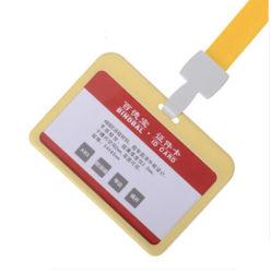 Horizontaler Ausweis doppelt transparenter ABS-Kartenhalter gelb