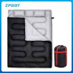 2つの枕が付いている二重寝袋