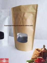 コーヒーパッキングバッグクラフトペーパーアルミニウムフォイル材料(窓付き)。