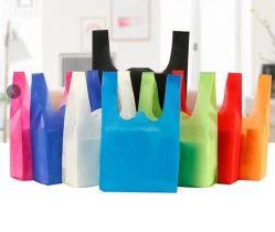 カスタムエコフレンドリー再使用可能ベスト T シャツ PP ノンウーブンハンドバッグ スーパーマーケットの食料品店の Tote のショッピングは販売のためのギフト袋を運ぶ