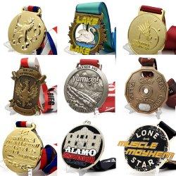 주문 스포츠 마라톤 운영하는 동전 Pin 큰 메달 금 기념품 아연 합금 은 사기질 기장 포상 금속 메달 최소한 없음