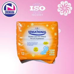 Nome de marca do OEM Super Recurso absorvente e formas aladas descartáveis mulheres Cotto absorventes higiênicos