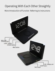 Orologio di corsa piegante chiaro di carico senza fili di notte di 10 W LED con l'allarme