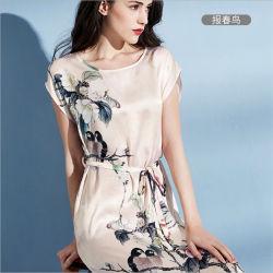 Impresso na China de Desgaste do Sono Acetinado Verão pijama de seda mulheres pijama de seda