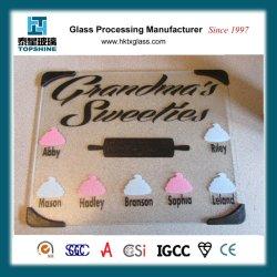 Nouvelle conception de l'écran de soie Découpe de verre d'impression bord, planche à hacher pour ustensiles de cuisine