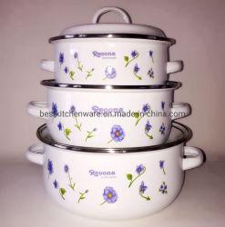Insieme stabilito del Cookware di /3PCS dell'articolo da cucina dello smalto Casserole/3PCS di Reoona