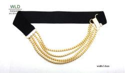 Lady's Fashion Ceinture élastique avec chaîne en or (KY5336-1)