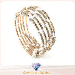 La nueva perla blanca con piedra CZ joyas de plata chapada en oro pulseras de moda y brazalete (G41254)