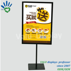 Metallo A4 che fa pubblicità alla visualizzazione da tavolino verticale di promozione del ristorante della memoria di vestiti di promozione del basamento di schiocco del banco di mostra del manifesto