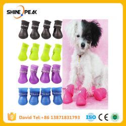 4pcs perro mascota de la lluvia impermeable Zapatos Zapatos para perros pequeños cachorro botas de goma de color caramelo Zapatos de cachorro de Perro Productos