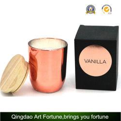 La cire de paraffine Bougies parfumées remplis de luxe en cuivre bocal en verre avec couvercle en bois en boîte cadeau d'aluminium doré noir