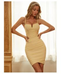 Europese en Amerikaanse zomer nieuwe V-Neck Halter jurk Sexy Tight Wrap Hip bandage korte rok Dress Evening Wear