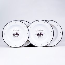 Preiswertestes 18cm-26cm blühte Firmenzeichen gedruckte weiße Decklack-Metalkohlenstoffstahl-Suppe-kampierende Abendessen-Teller-Platte mit schwarzer Felge
