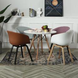 Italienische moderne Esszimmer-Möbel-eindeutiger bequemer Plastik entspannt sich, Stuhl mit den Metallübergangsbeinen speisend