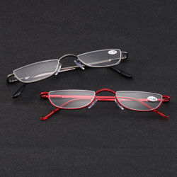 Металлические половина Луны Presbyopic Женщины Мужчины Semi Безободковые чтения очки