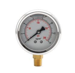 ステンレススチールケース液体充填ボトムコネクションマノメーター油圧ゲージ