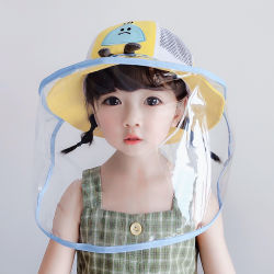 La vente en gros masque facial noir amovible de protection de benne Kid Sun Hat