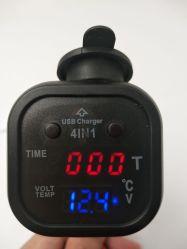 12V-24V Universalität 4 in 1 Auto-Zeit-Dattel-Digital-Thermometer-Spannungs-Detektor-Aufladeeinheits-Bildschirmanzeige